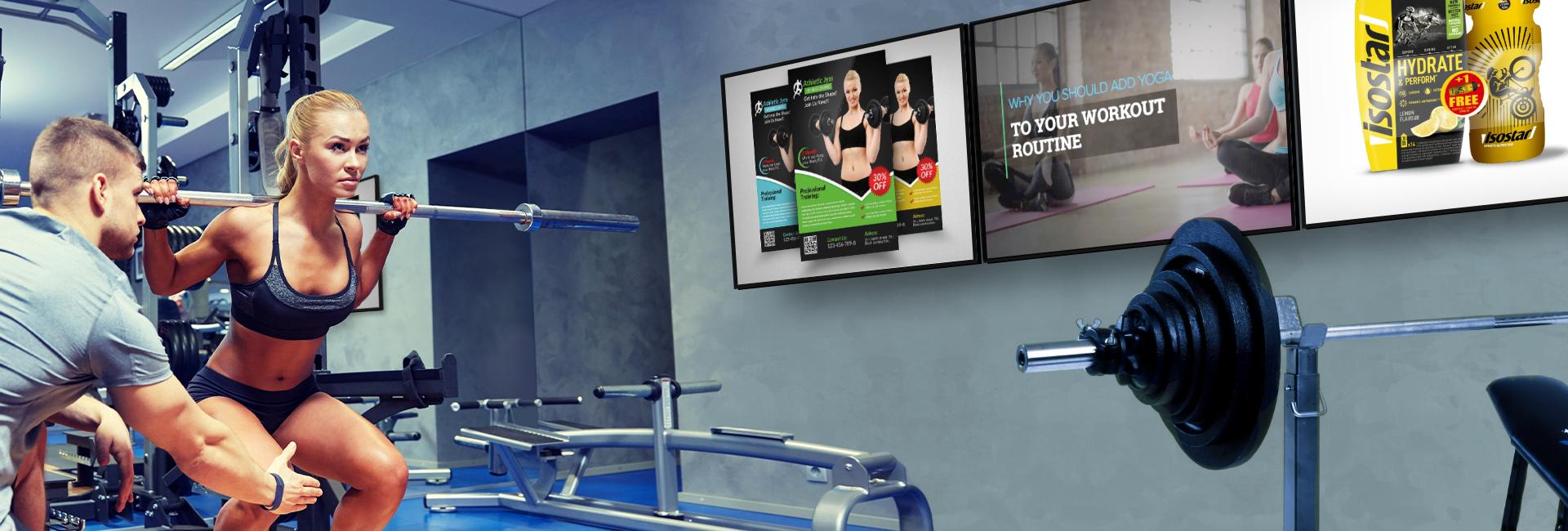 Narrowcasting in fitness ruimte